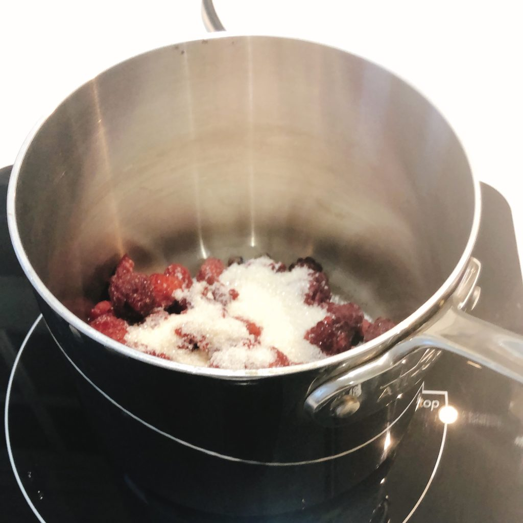 raspberry, sugar, lemon juice, salt in a small pot